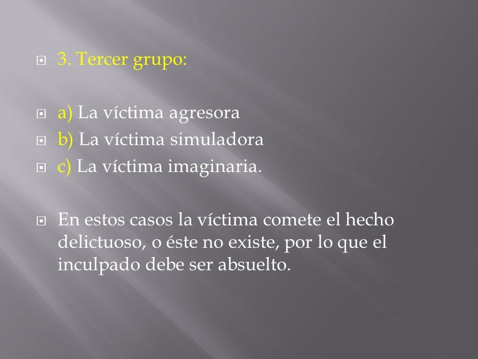 3. Tercer grupo: a) La víctima agresora. b) La víctima simuladora. c) La víctima imaginaria.
