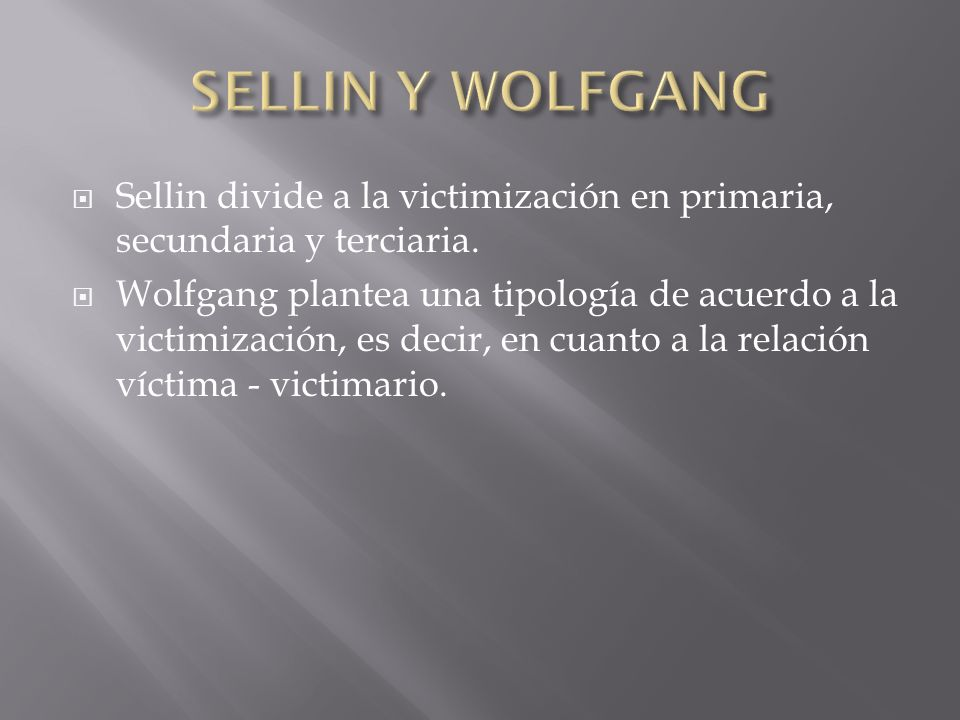 sellin and wolfgang victim typologies Victim typologies 1 running header: hall_elizabeth_unit_two_written_assignment[1] victimologists sellin and wolfgang have offered a typology of victimization that lists five categories and focuses more on situations instead of victim associations.
