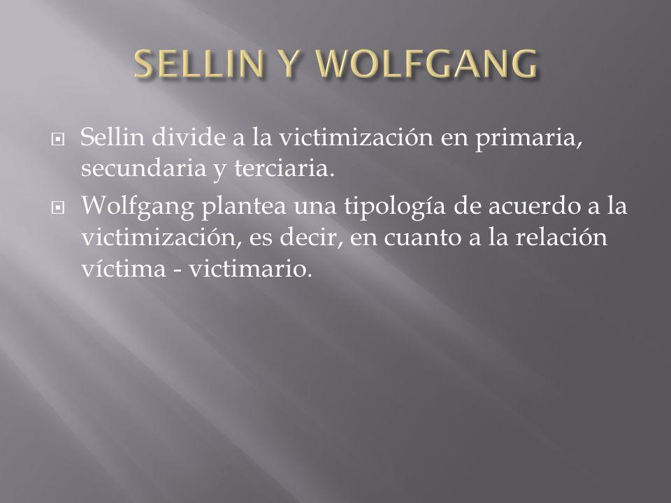 SELLIN Y WOLFGANG Sellin divide a la victimización en primaria, secundaria y terciaria.