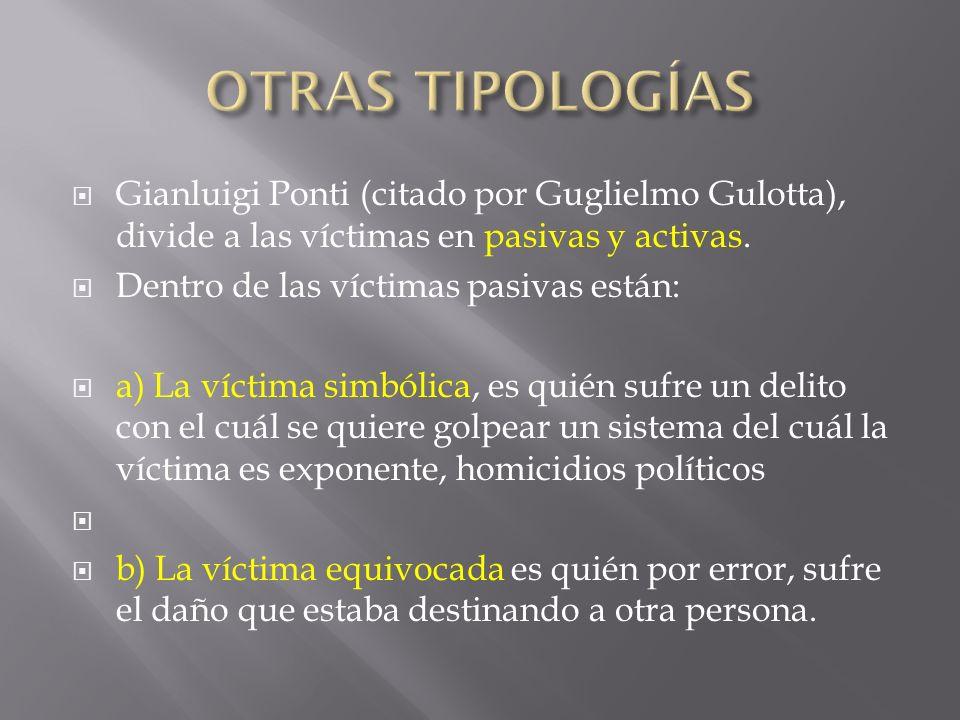 OTRAS TIPOLOGÍAS Gianluigi Ponti (citado por Guglielmo Gulotta), divide a las víctimas en pasivas y activas.
