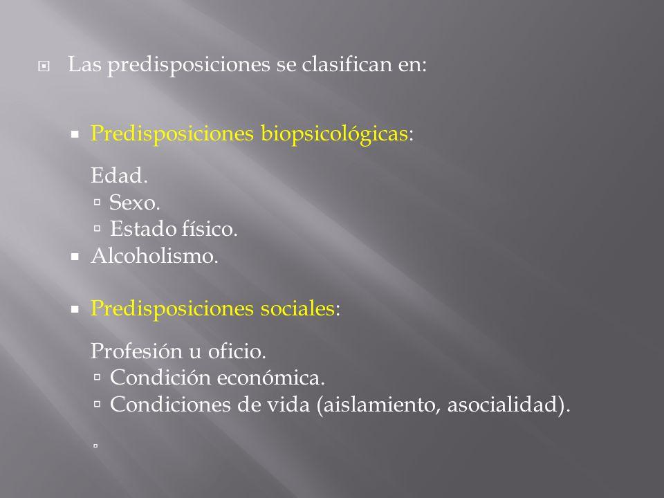 Las predisposiciones se clasifican en: