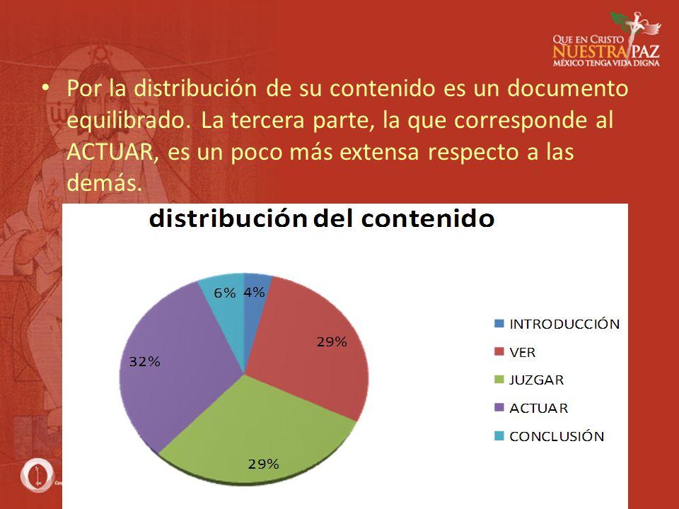 Por la distribución de su contenido es un documento equilibrado