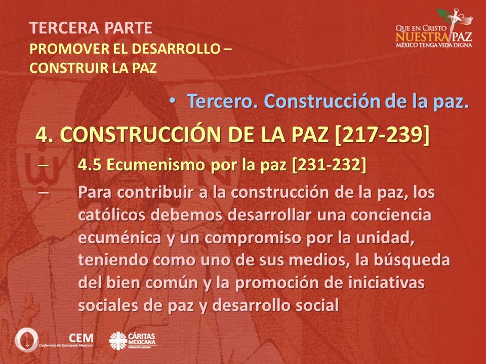 TERCERA PARTE PROMOVER EL DESARROLLO – CONSTRUIR LA PAZ