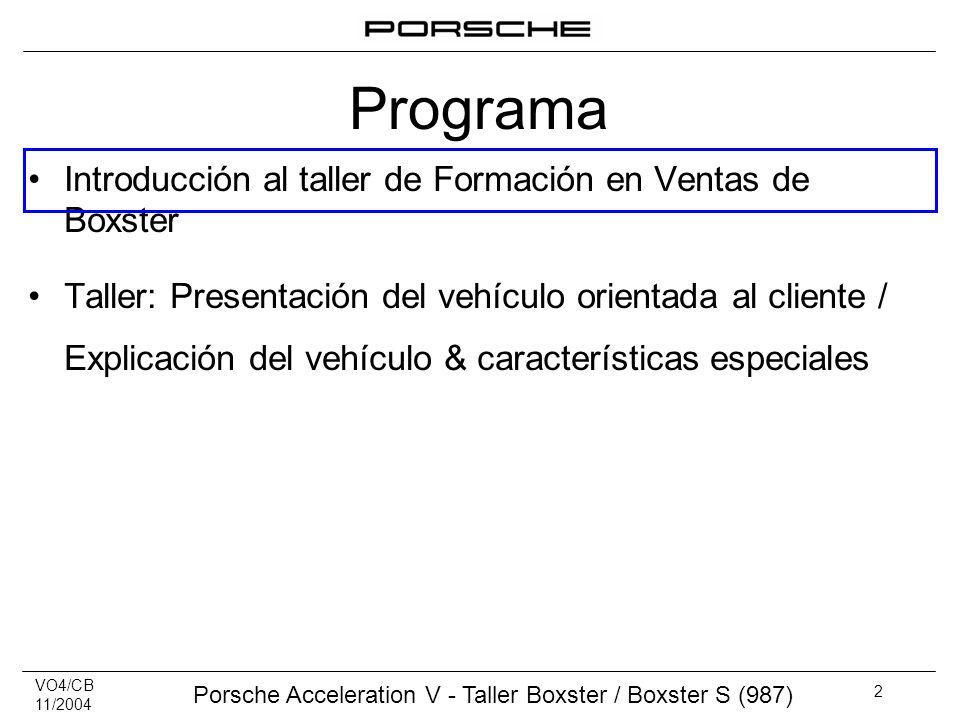 Programa Introducción al taller de Formación en Ventas de Boxster