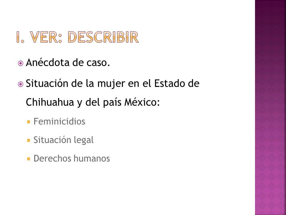 I. VER: DESCRIBIR Anécdota de caso.