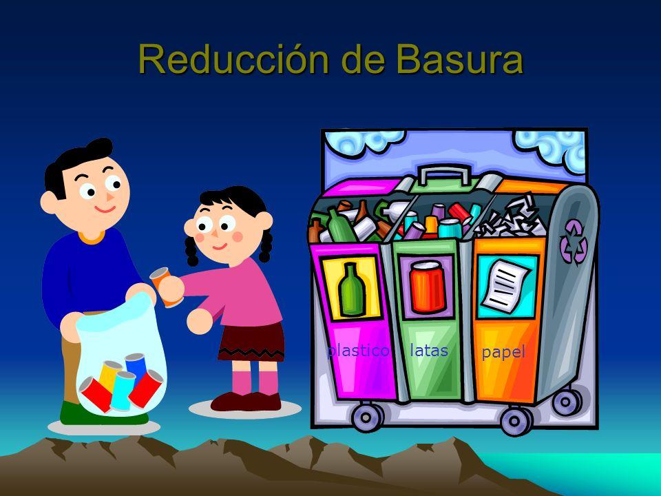 Reducción de Basura plastico latas papel