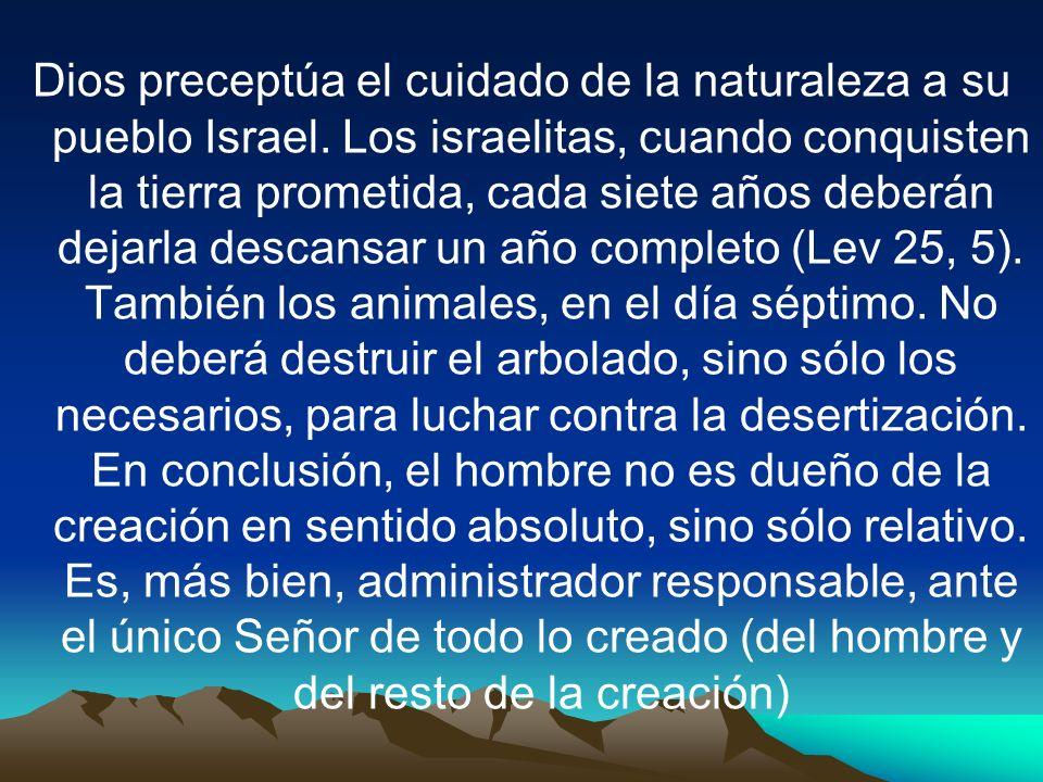 Dios preceptúa el cuidado de la naturaleza a su pueblo Israel