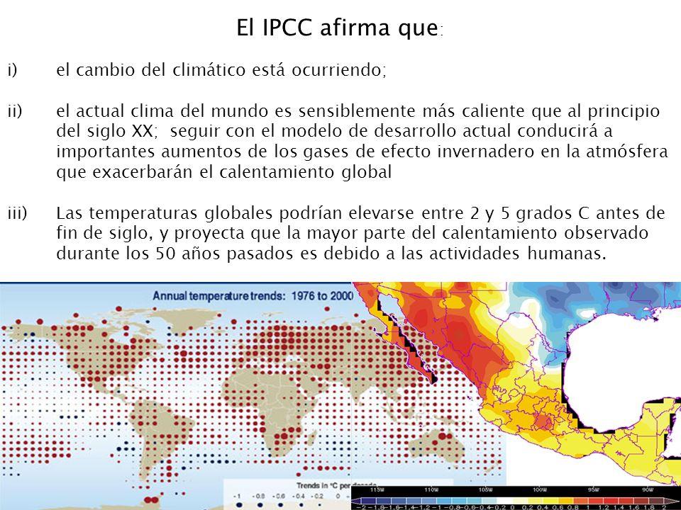 El IPCC afirma que: el cambio del climático está ocurriendo;