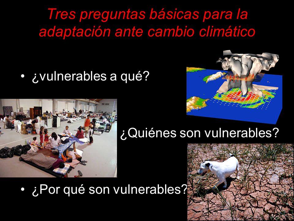 Tres preguntas básicas para la adaptación ante cambio climático
