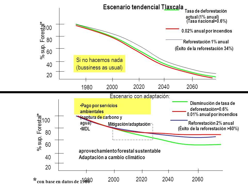 *con base en datos de 1980 Escenario tendencial Tlaxcala 1980 2000