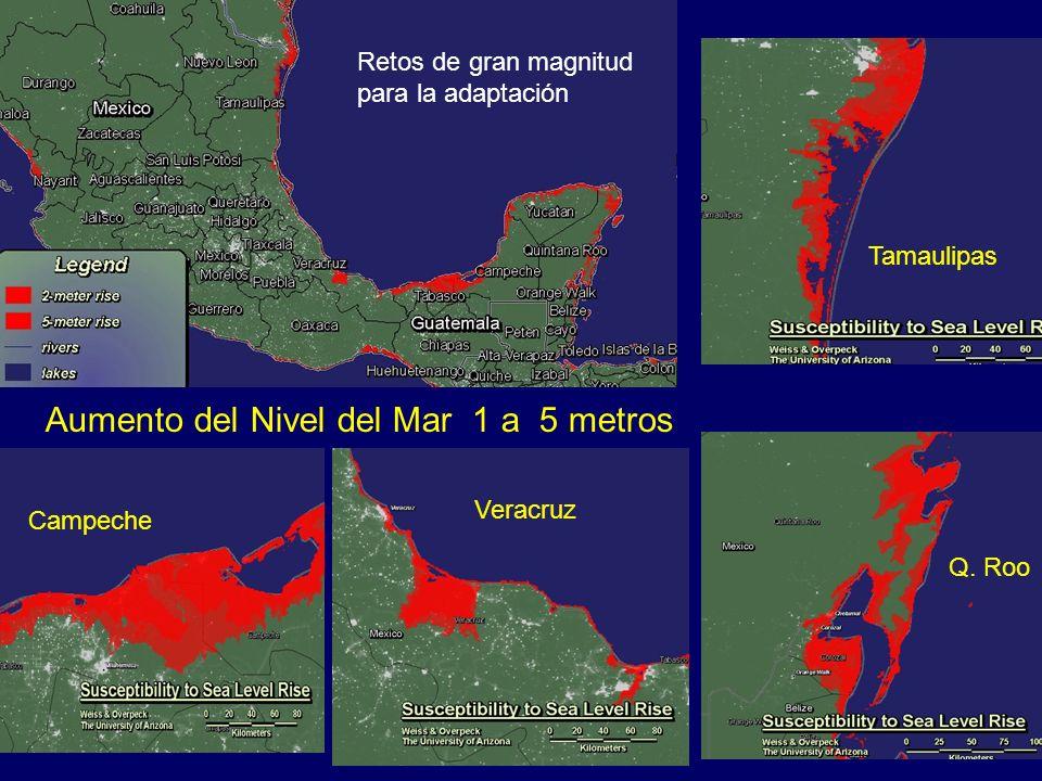 Aumento del Nivel del Mar 1 a 5 metros