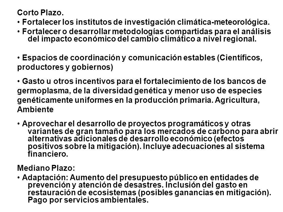 Corto Plazo.• Fortalecer los institutos de investigación climática-meteorológica.