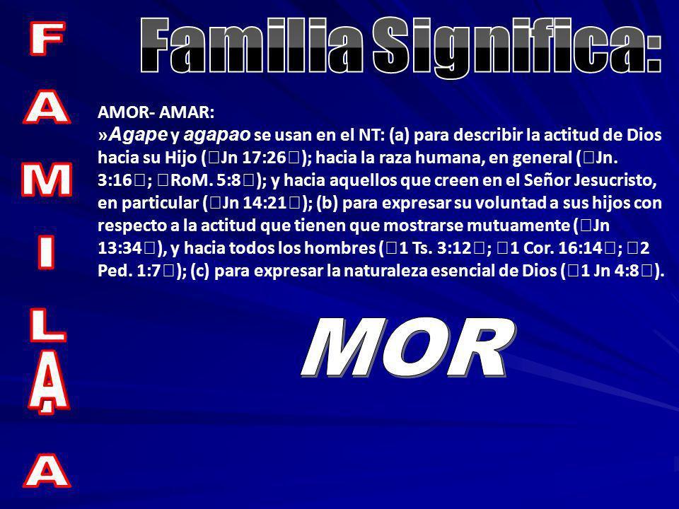 Familia Significa: FAMILIA MOR A AMOR- AMAR: