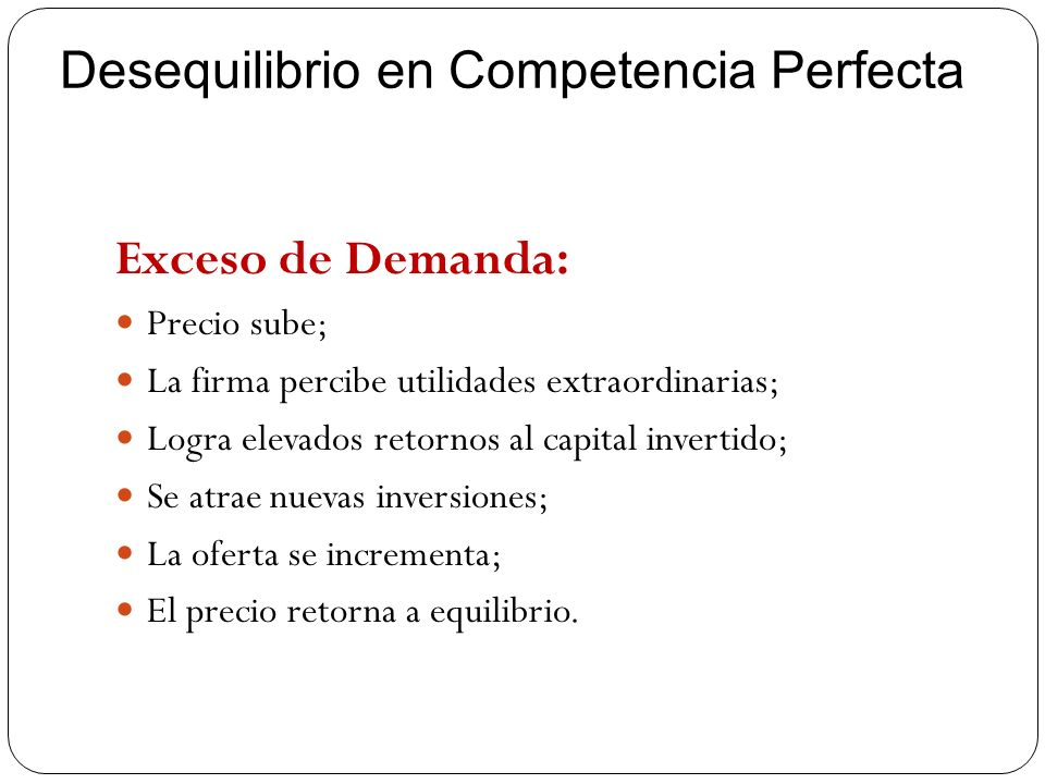 Desequilibrio en Competencia Perfecta