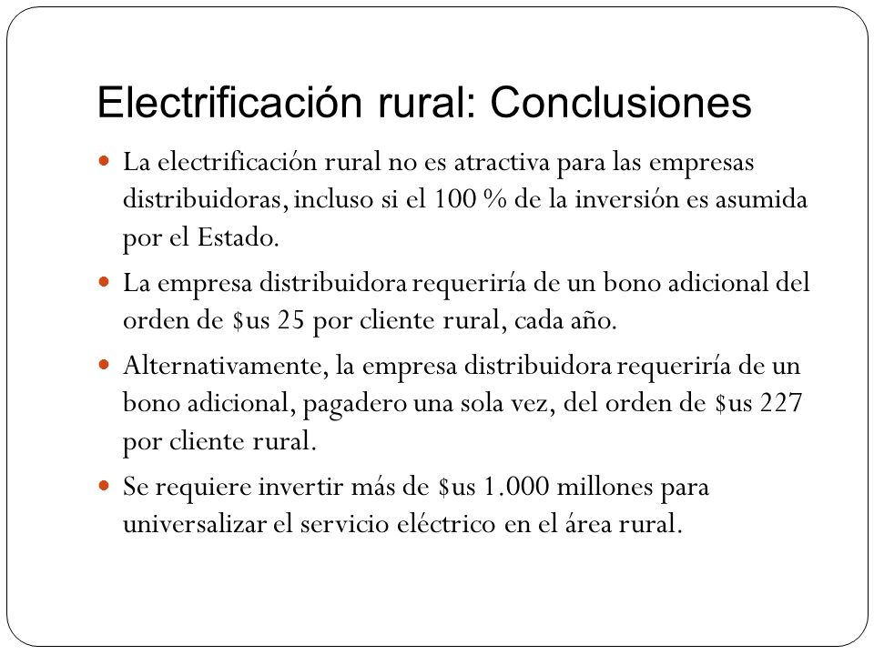 Electrificación rural: Conclusiones