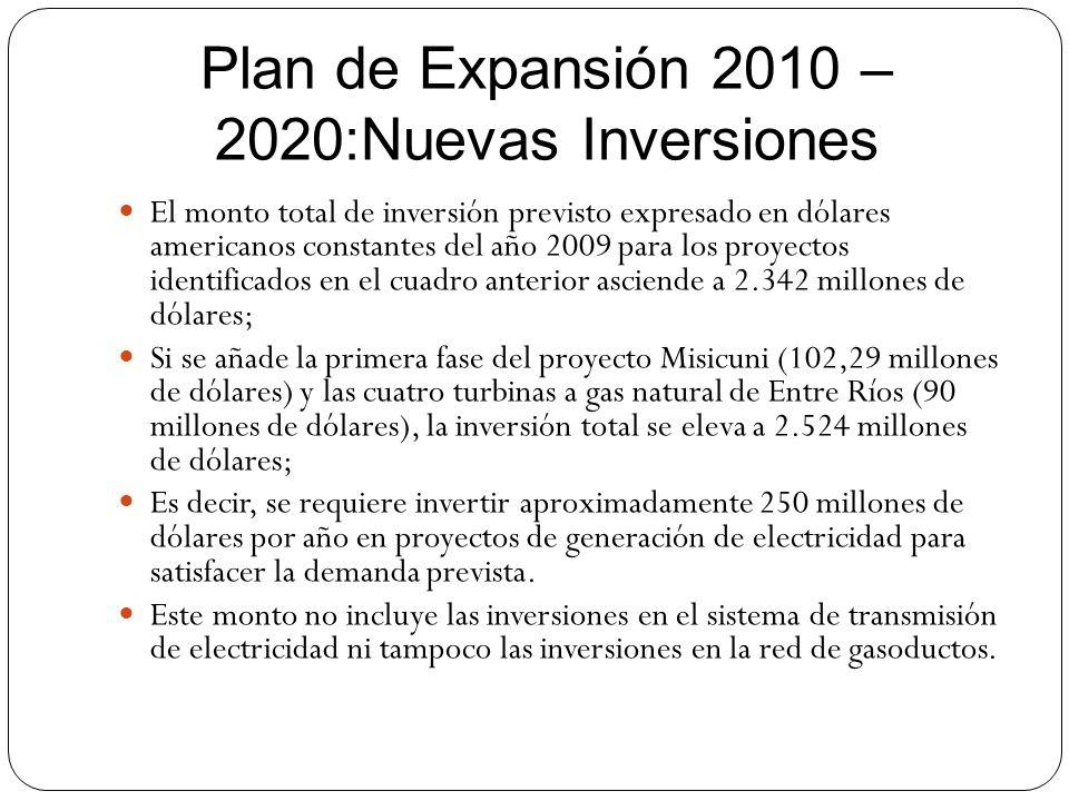 Plan de Expansión 2010 – 2020:Nuevas Inversiones