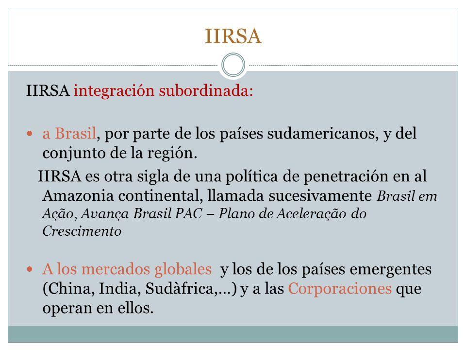 IIRSA IIRSA integración subordinada: