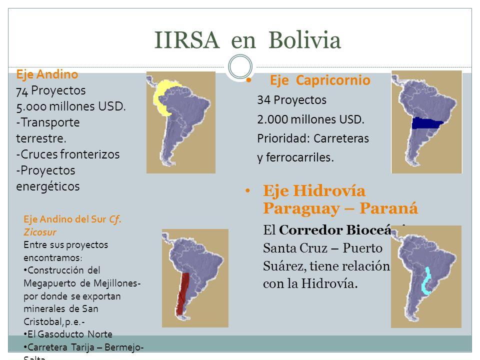 IIRSA en Bolivia Eje Hidrovía Paraguay – Paraná El Corredor Bioceánico