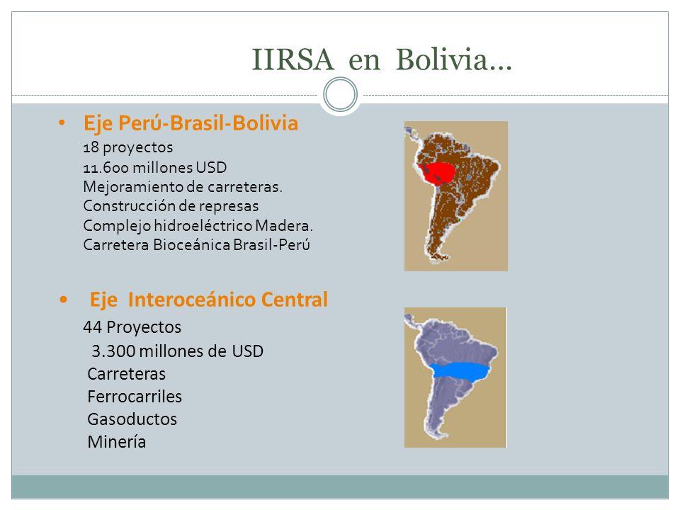 IIRSA en Bolivia… Eje Perú-Brasil-Bolivia Eje Interoceánico Central