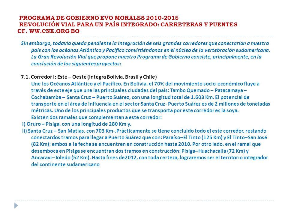 PROGRAMA DE GOBIERNO EVO MORALES 2010-2015 REVOLUCIÓN VIAL PARA UN PAÍS INTEGRADO: CARRETERAS Y PUENTES CF. WW.CNE.ORG BO