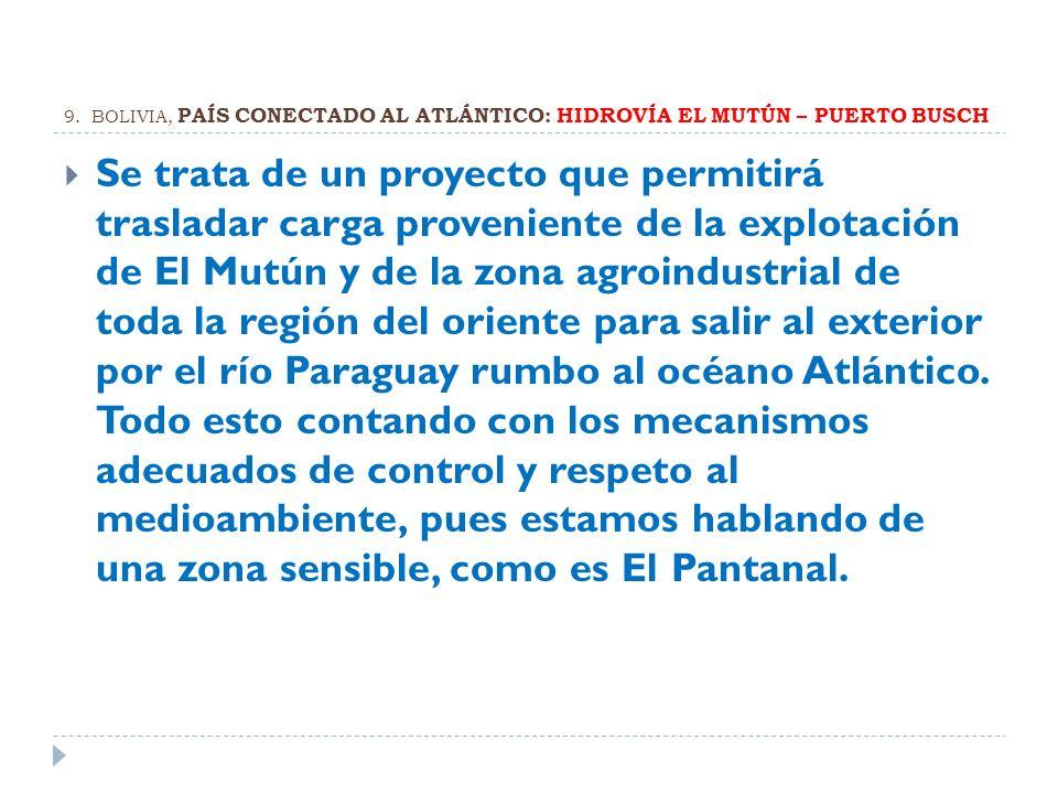 9. BOLIVIA, PAÍS CONECTADO AL ATLÁNTICO: HIDROVÍA EL MUTÚN – PUERTO BUSCH
