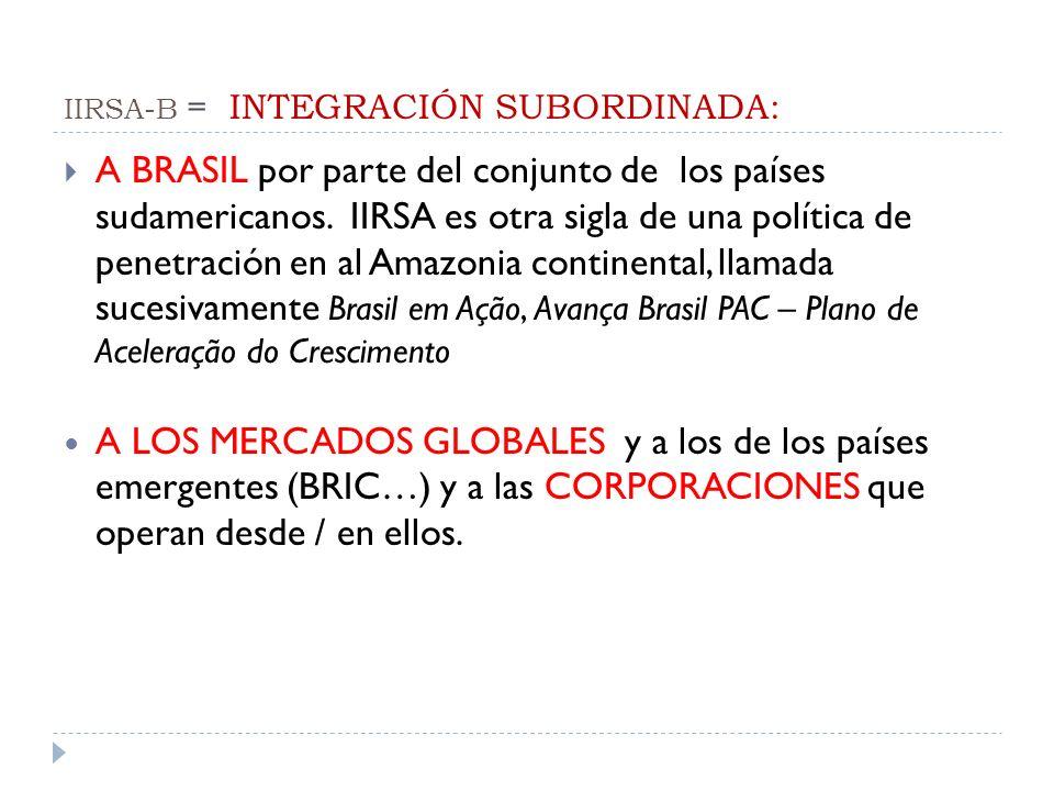 IIRSA-B = INTEGRACIÓN SUBORDINADA: