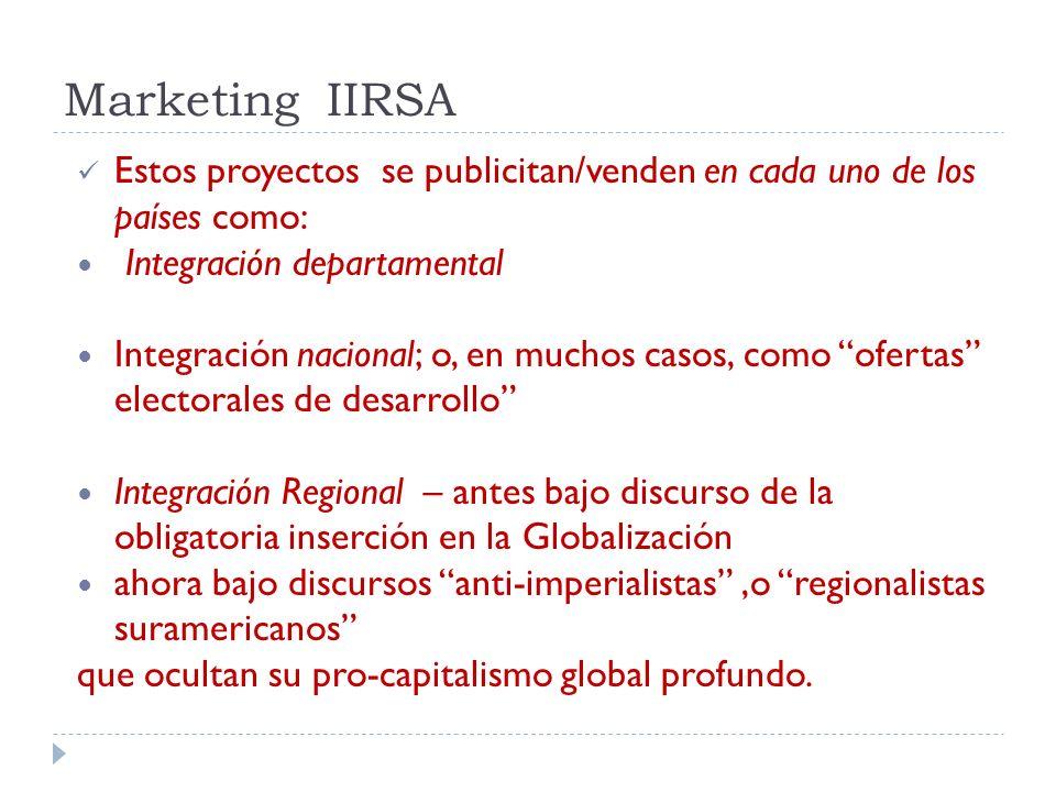 Marketing IIRSA Estos proyectos se publicitan/venden en cada uno de los países como: Integración departamental.