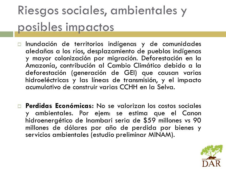 Riesgos sociales, ambientales y posibles impactos
