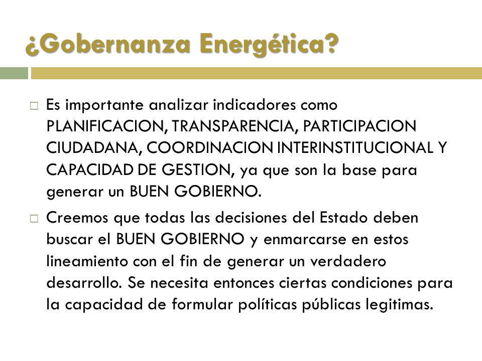 ¿Gobernanza Energética