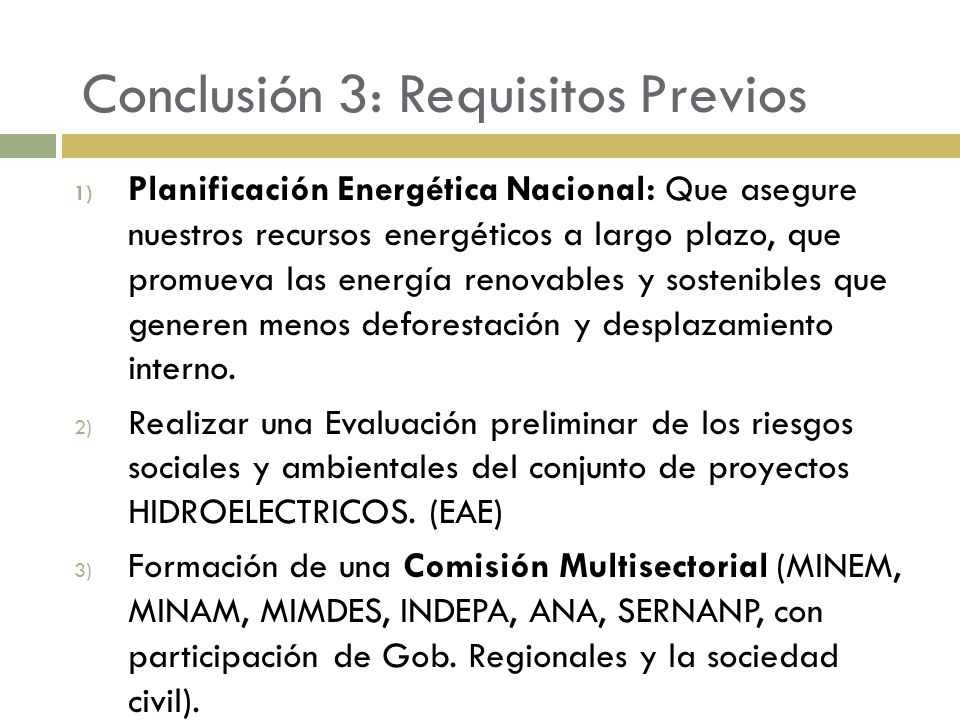 Conclusión 3: Requisitos Previos