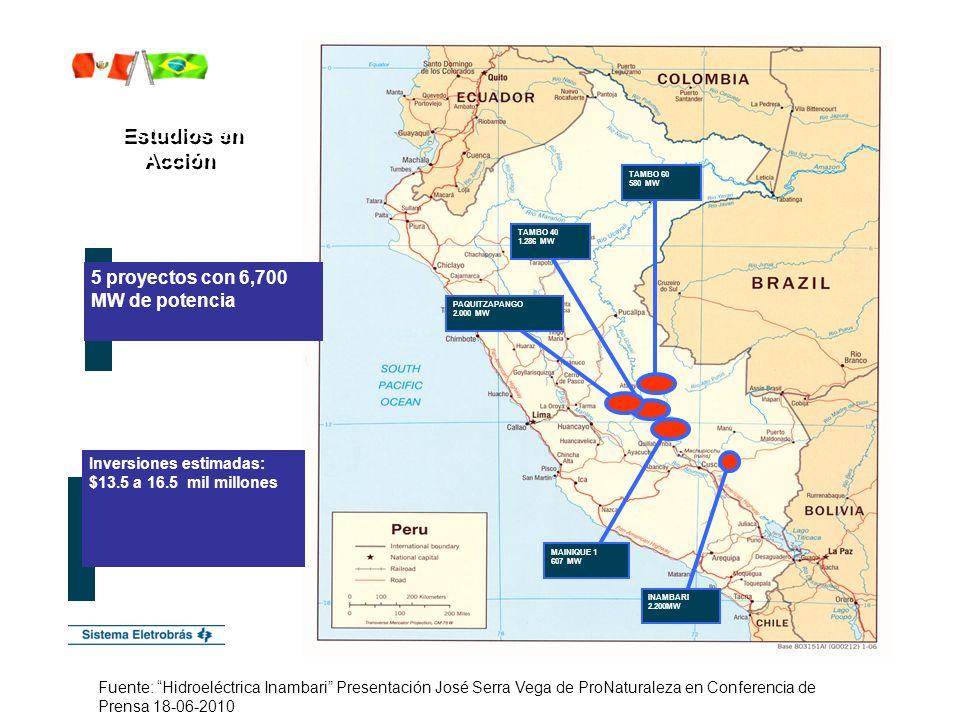 Estudios en Acción 5 proyectos con 6,700 MW de potencia