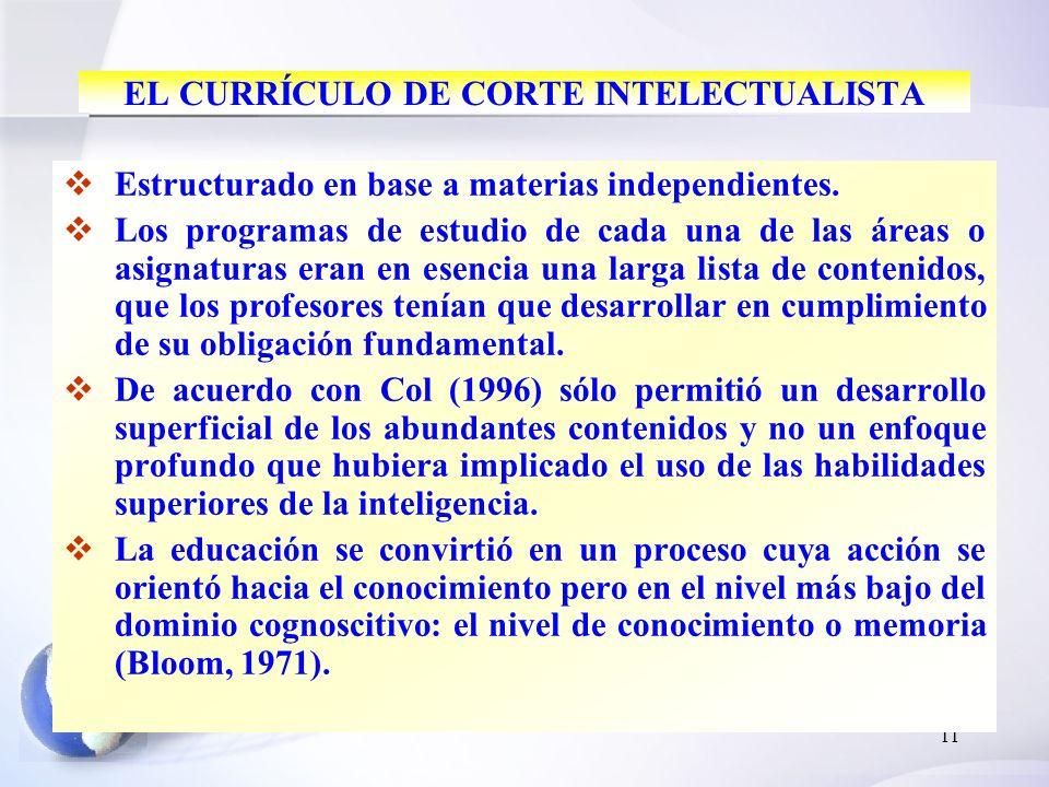 EL CURRÍCULO DE CORTE INTELECTUALISTA