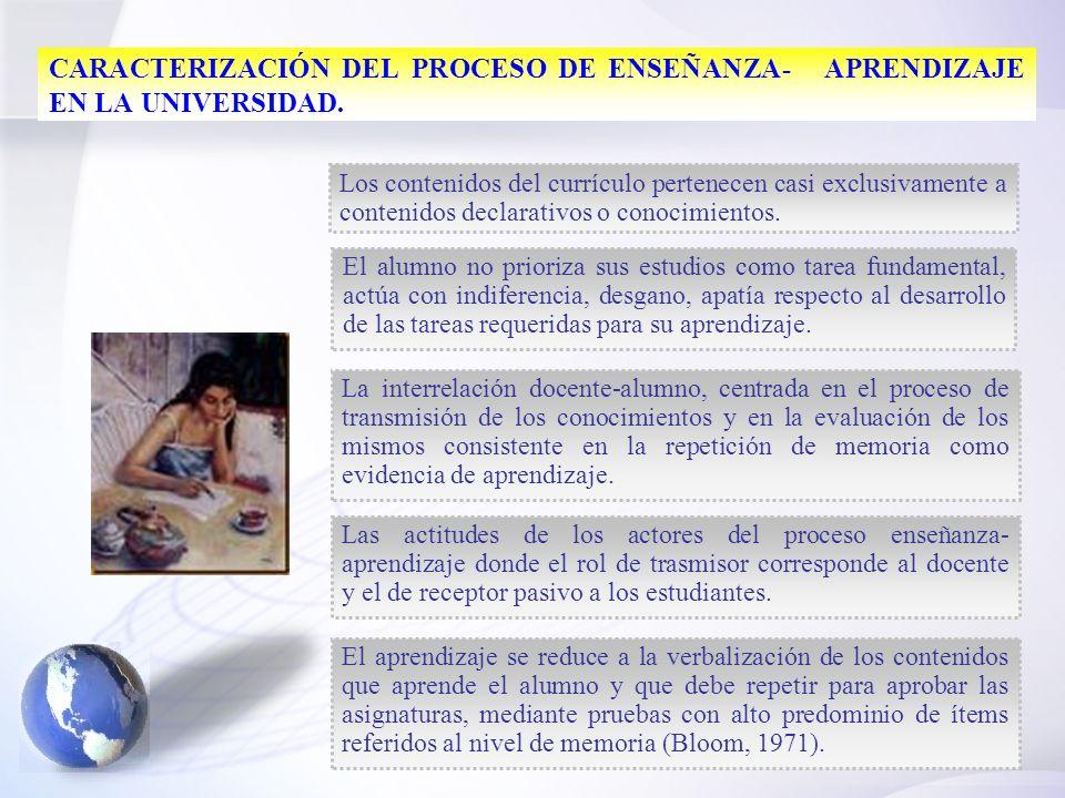CARACTERIZACIÓN DEL PROCESO DE ENSEÑANZA- APRENDIZAJE EN LA UNIVERSIDAD.