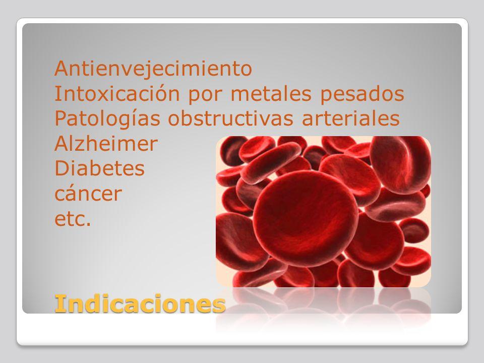 Antienvejecimiento Intoxicación por metales pesados Patologías obstructivas arteriales Alzheimer Diabetes cáncer etc.