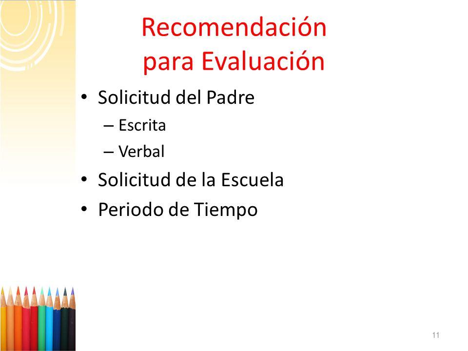 Recomendación para Evaluación
