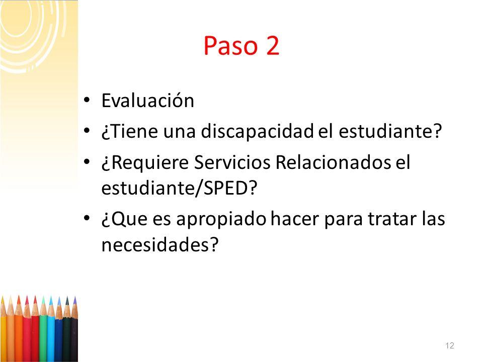 Paso 2 Evaluación ¿Tiene una discapacidad el estudiante