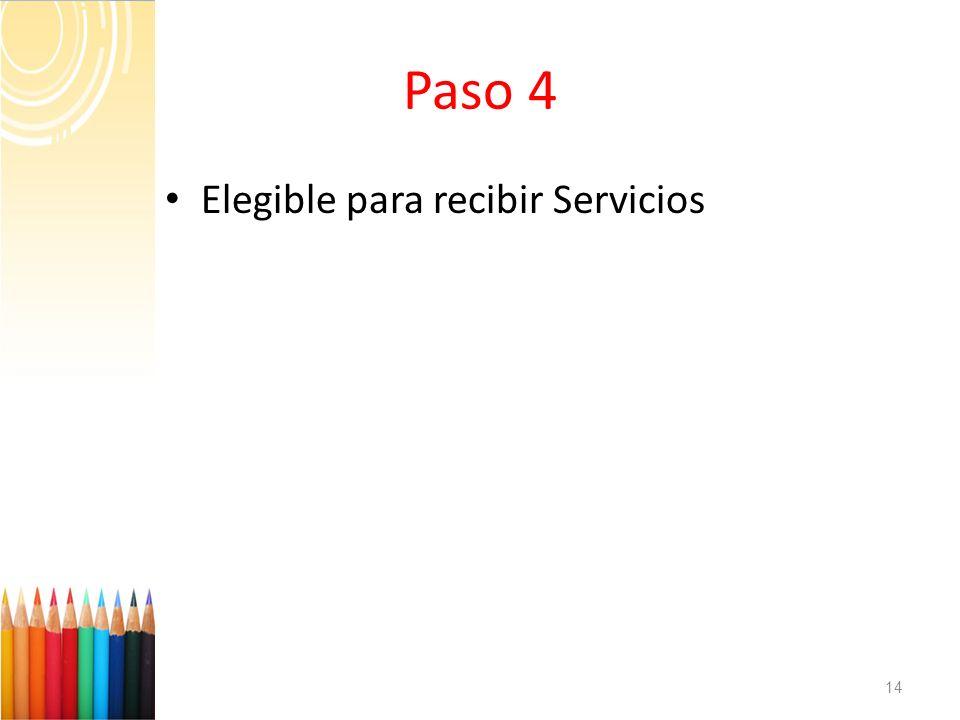 Paso 4 Elegible para recibir Servicios