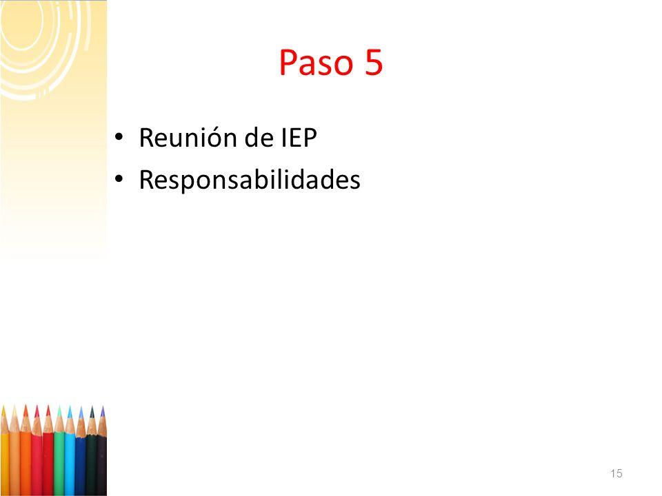 Paso 5 Reunión de IEP Responsabilidades