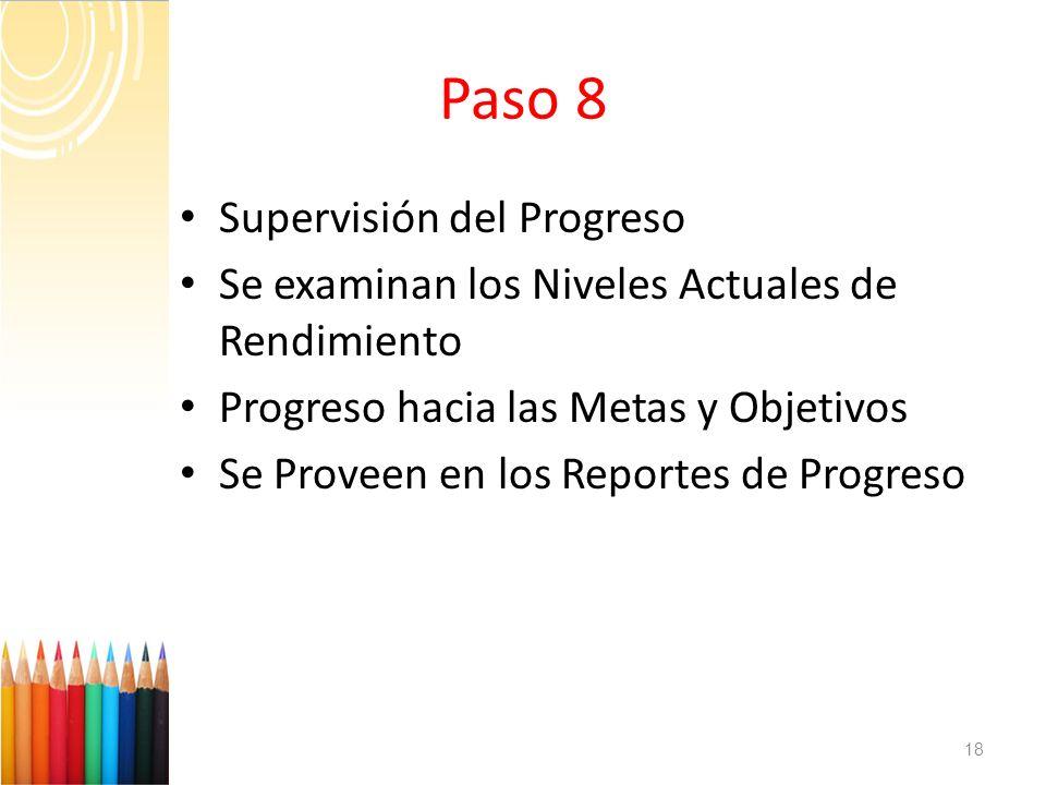Paso 8 Supervisión del Progreso
