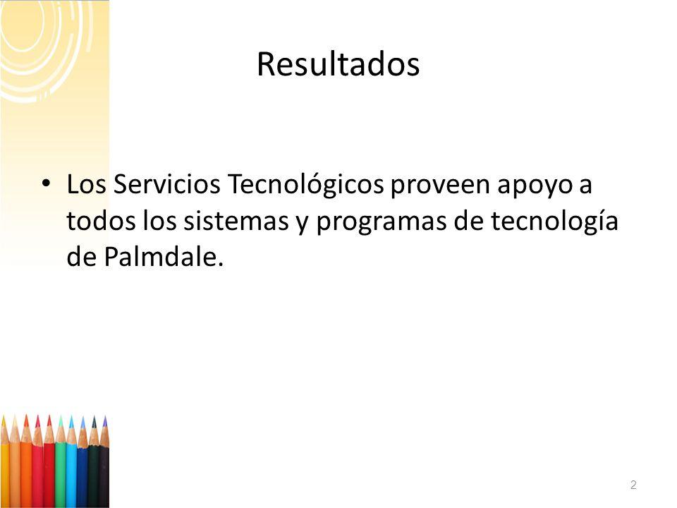 Resultados Los Servicios Tecnológicos proveen apoyo a todos los sistemas y programas de tecnología de Palmdale.