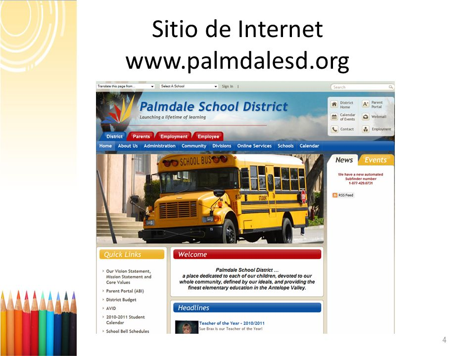 Sitio de Internet www.palmdalesd.org