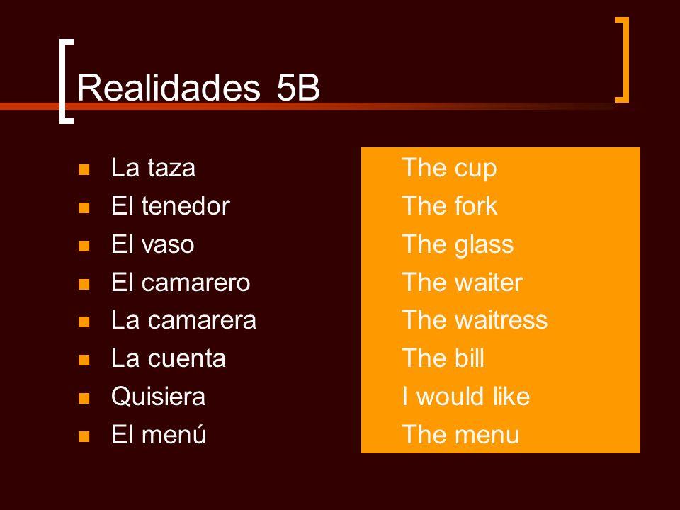Realidades 5B La taza El tenedor El vaso El camarero La camarera