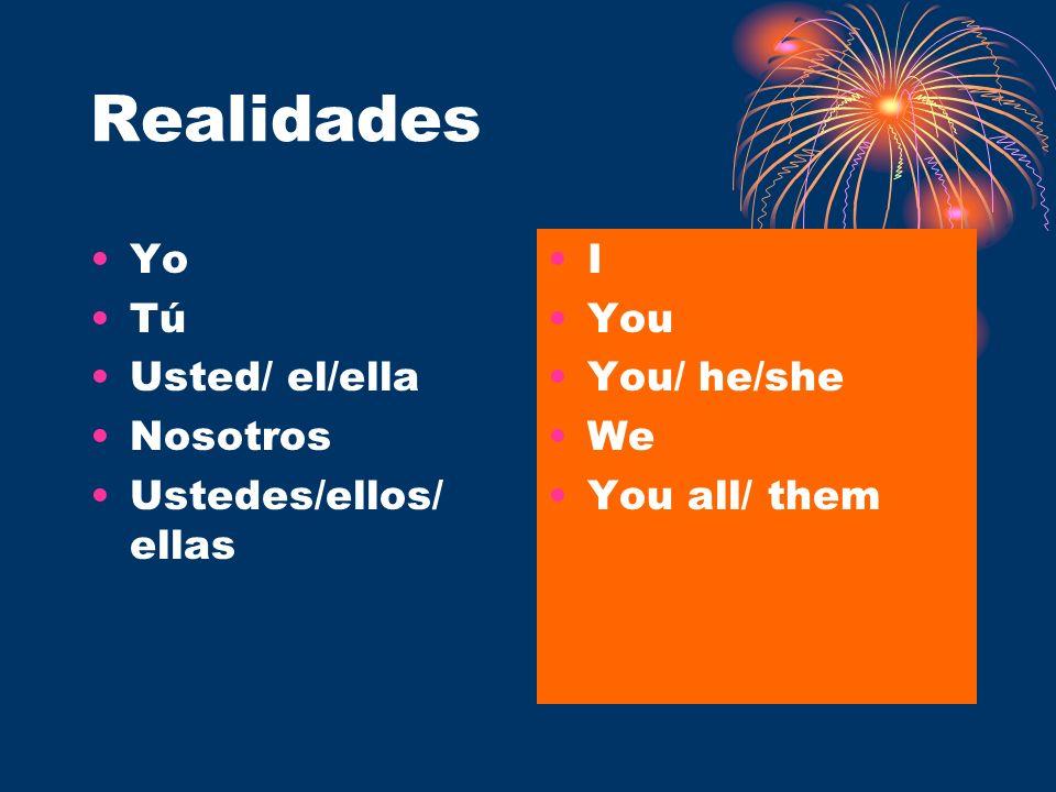 Realidades Yo Tú Usted/ el/ella Nosotros Ustedes/ellos/ ellas I You