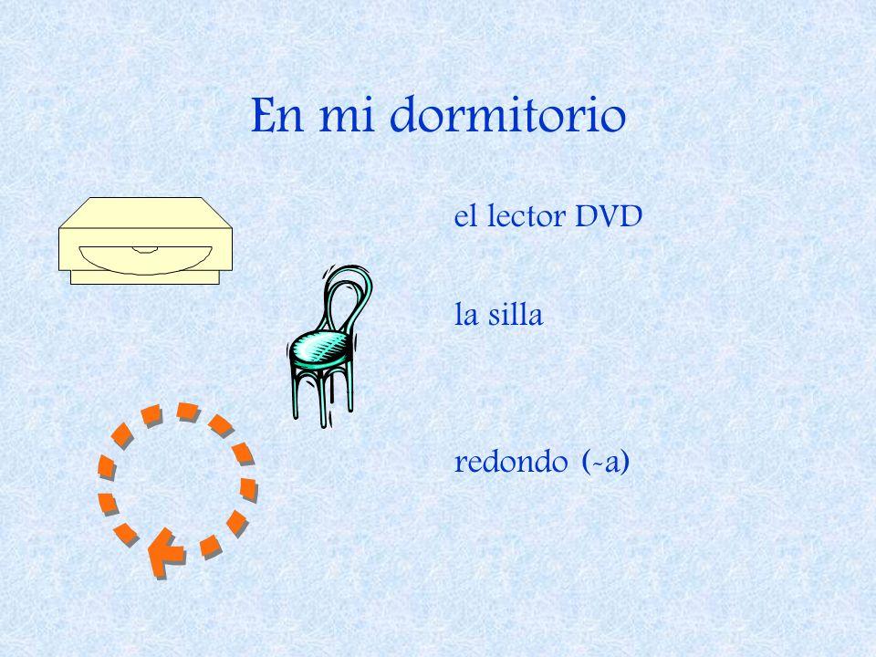 En mi dormitorio el lector DVD la silla redondo (-a)