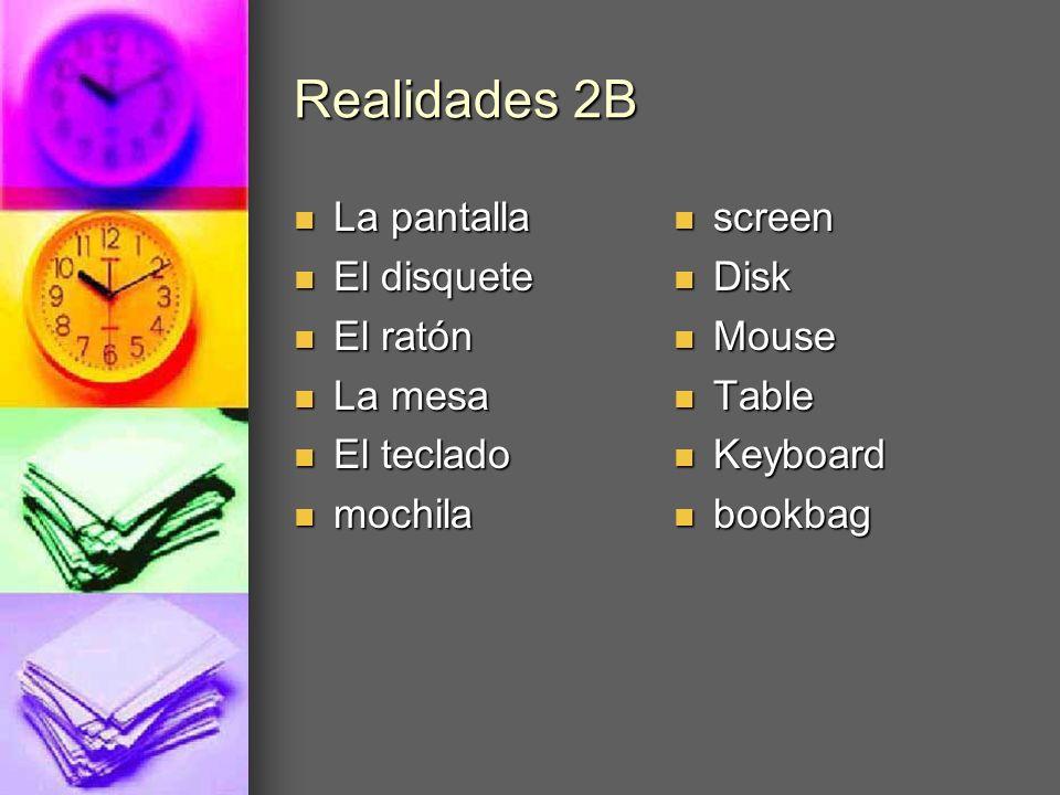 Realidades 2B La pantalla El disquete El ratón La mesa El teclado