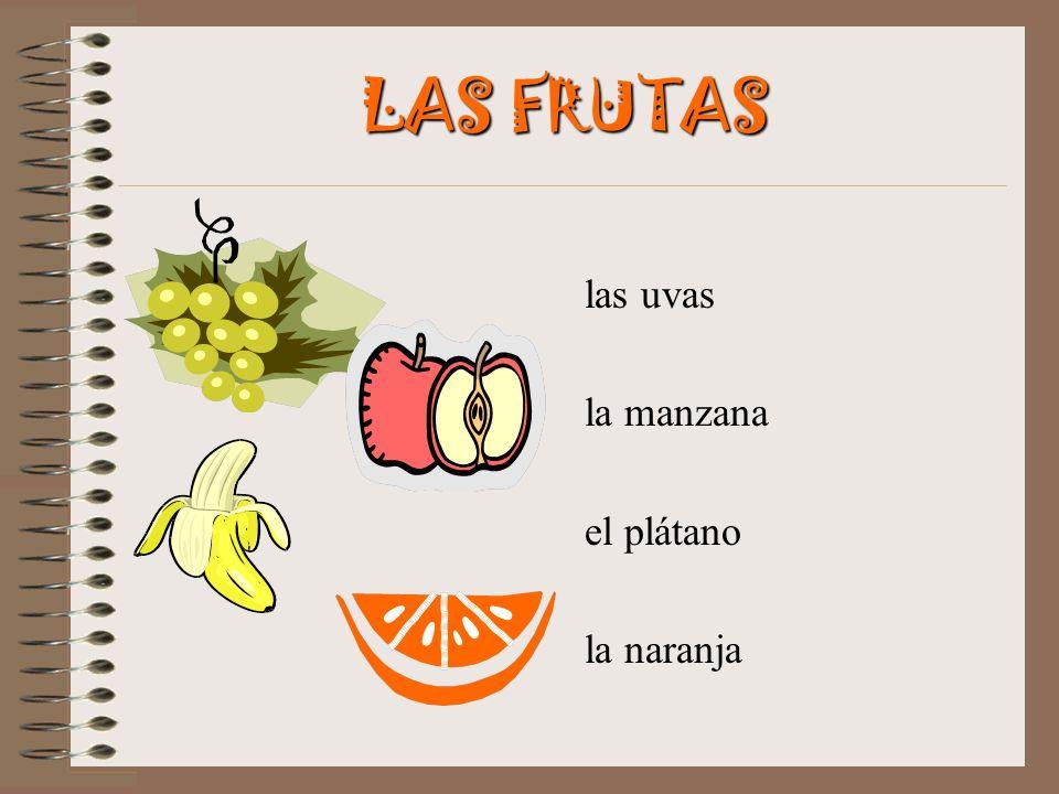 LAS FRUTAS las uvas la manzana el plátano la naranja