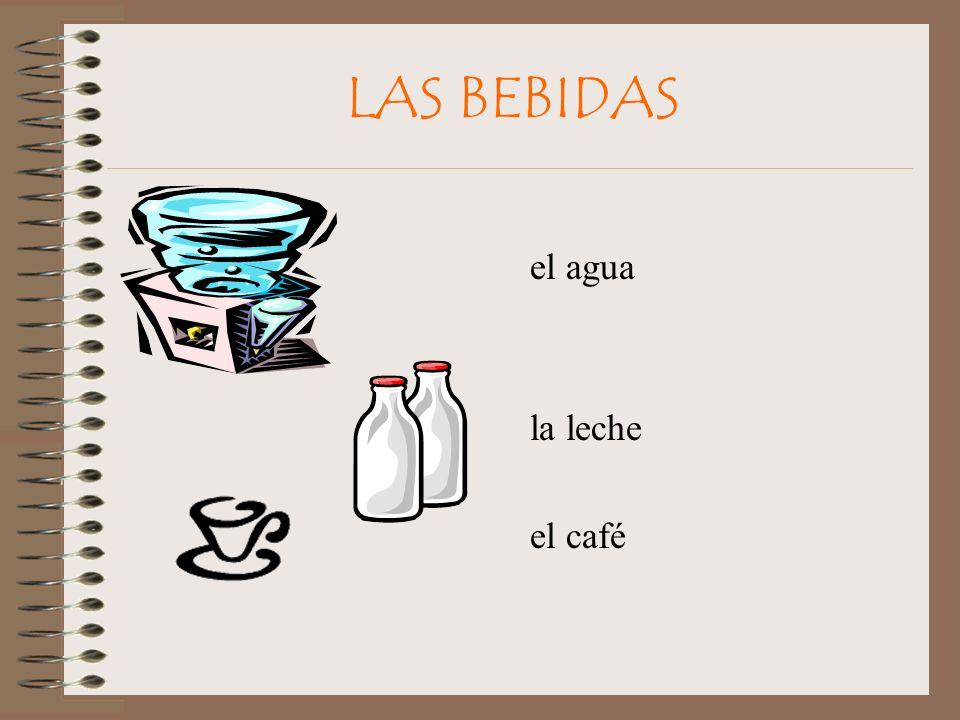 LAS BEBIDAS el agua la leche el café