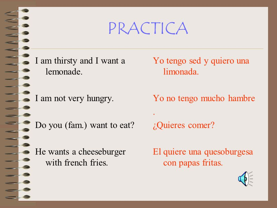 PRACTICA I am thirsty and I want a lemonade. I am not very hungry.