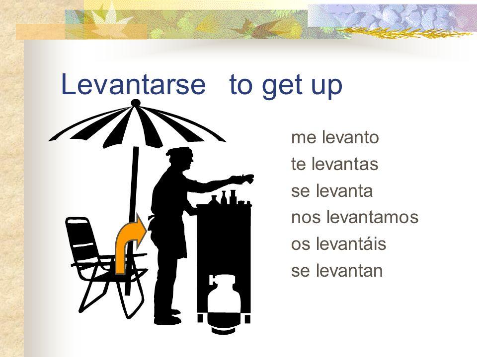 Levantarse to get up me levanto te levantas se levanta nos levantamos
