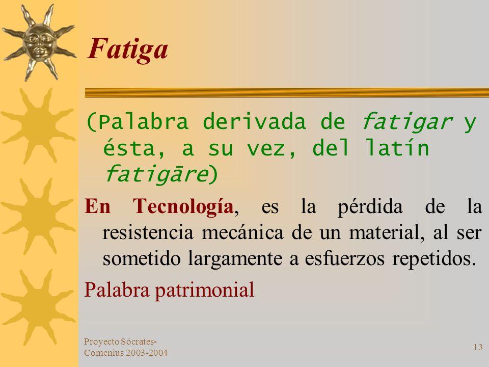 Fatiga (Palabra derivada de fatigar y ésta, a su vez, del latín fatigāre)